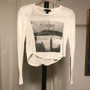 F21 London Graphic Crop Top